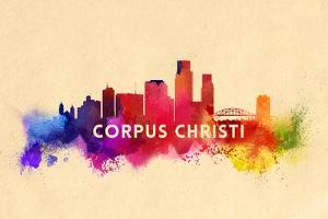 Corpus Christi, Texas - Skyline Abstract by Lantern Press