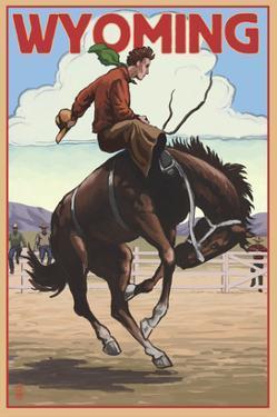 Cowboy and Bronco Scene - Wyoming by Lantern Press