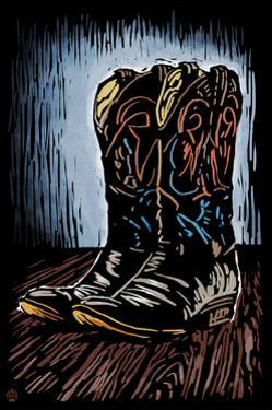 Cowboy Boots - Scratchboard by Lantern Press