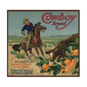 Cowboy Brand - Tustin, California - Citrus Crate Label by Lantern Press