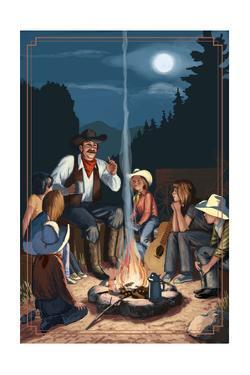 Cowboy Campfire Story Telling by Lantern Press