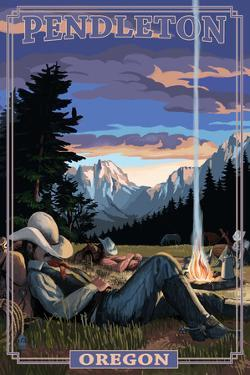 Cowboy Camping Night Scene - Pendleton, Oregon by Lantern Press