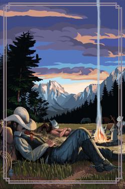 Cowboy Camping Night Scene by Lantern Press
