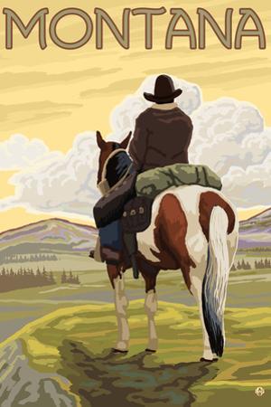 Cowboy & Horse, Montana by Lantern Press
