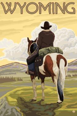 Cowboy & Horse, Wyoming by Lantern Press