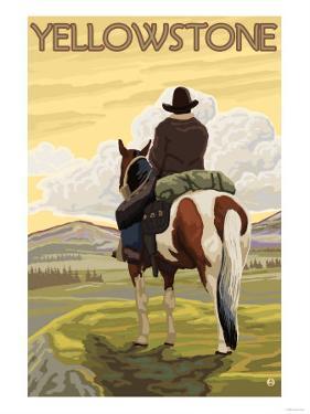 Cowboy & Horse, Yellowstone National Park by Lantern Press