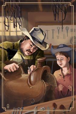 Cowboy Saddle Maker by Lantern Press