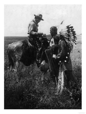 Cowboy Trading with Indians Using Sign Language - Tucumcari, NM by Lantern Press