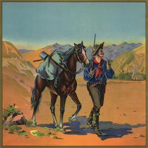 Cowboy with Horse - Citrus Crate Label by Lantern Press