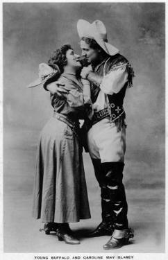 Cowgirl Portrait - Caroline May Blaney with a Young Buffalo Man by Lantern Press