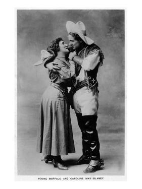 Cowgirl Portrait - Caroline May Blaney with a Young Buffalo Man by Lantern Press