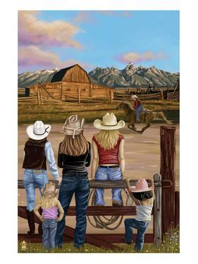 Cowgirls Scene by Lantern Press