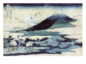 Cranes on the Ground and in Flight with Mount Fuji in the Background, Japanese Wood-Cut Print by Lantern Press