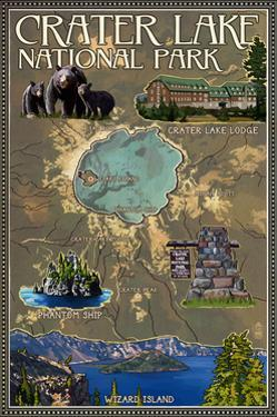 Crater Lake National Park, Oregon - Map and Icons by Lantern Press