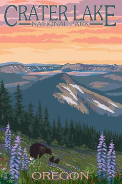 Crater Lake National Park, Oregon - Spring Flowers and Bear Family by Lantern Press