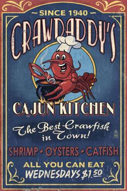 Crawfish - Vintage Sign by Lantern Press