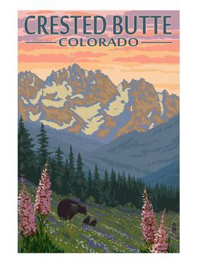 Crested Butte, Colorado - Bears and Spring Flowers by Lantern Press