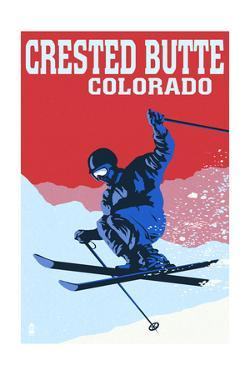 Crested Butte, Colorado - Colorblocked Skier by Lantern Press