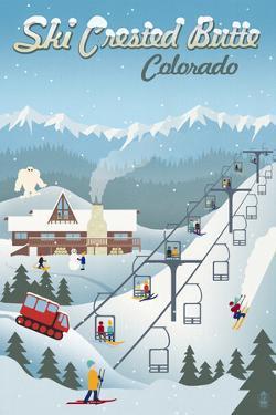 Crested Butte, Colorado - Retro Ski Resort by Lantern Press