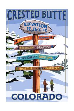 Crested Butte, Colorado - Ski Run Signpost by Lantern Press