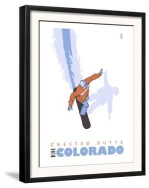 Crested Butte, Colorado, Snowboard Stylized by Lantern Press