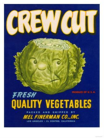 Crew Cut Lettuce Label - El Centro, CA by Lantern Press
