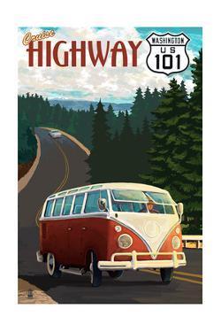 Cruise Highway 101, Washington - VW Van Scene by Lantern Press