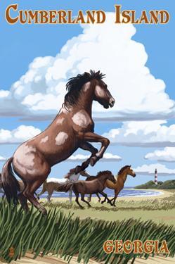 Cumberland Island, Georgia - Wild Horses by Lantern Press