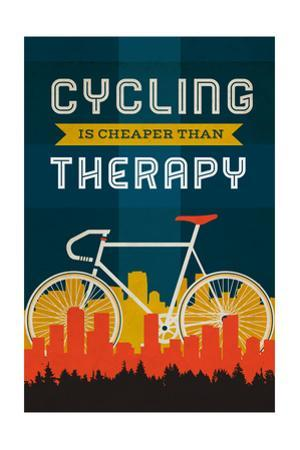 Cycling is Cheaper than Therapy - Screenprint Style by Lantern Press