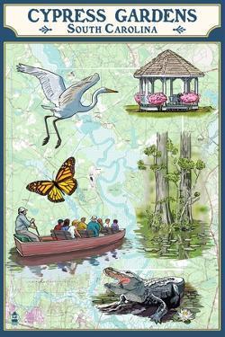 Cypress Gardens, South Carolina - Nautical Chart by Lantern Press