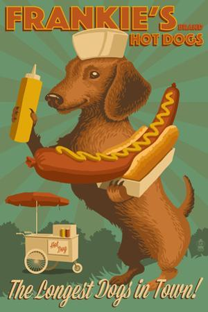 Dachshund - Retro Hotdog Ad by Lantern Press
