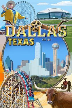 Dallas, Texas - Montage Scenes by Lantern Press