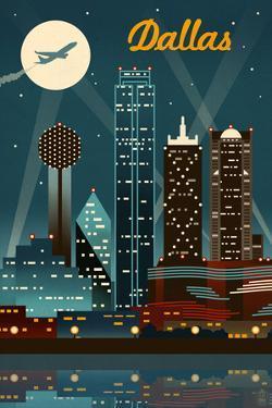 Dallas, Texas - Retro Skyline by Lantern Press