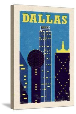 Dallas, Texas - Woodblock by Lantern Press