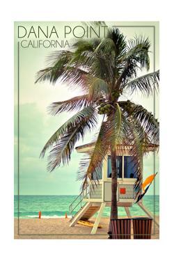 Dana Point, California - Lifeguard Shack and Palm by Lantern Press