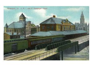Davenport, Iowa - Chicago, Rock Island, and Pacific Train Depot by Lantern Press