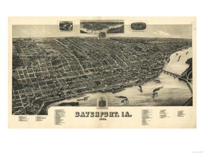 Davenport, Iowa - Panoramic Map by Lantern Press