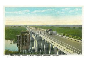 Davis, California - Causeway over Yolo Basin Towards Sacramento by Lantern Press