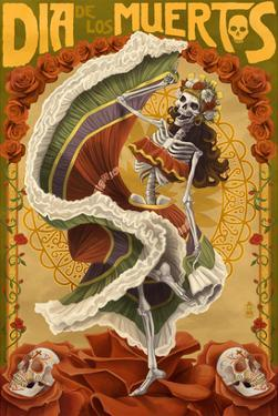Day of the Dead - Skeleton Dancing by Lantern Press