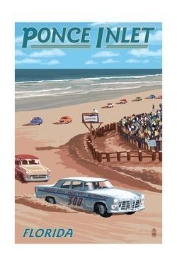 Dayton Beach Race Scene, Ponce Inlet, FL by Lantern Press
