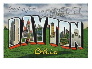 Dayton, Ohio - Large Letter Scenes, Wright Bros. Plane by Lantern Press