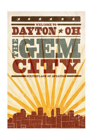 Dayton, Ohio - Skyline and Sunburst Screenprint Style by Lantern Press