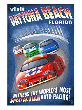 Daytona Beach, Florida - Racecar Scene by Lantern Press