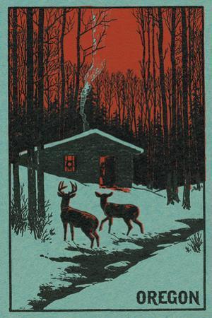 Deer and Cabin in Winter - Oregon Woodblock by Lantern Press