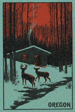 Deer and Cabin in Winter - Oregon Woodblock by Lantern Press
