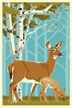 Deer and Fawn by Lantern Press