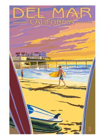 Del Mar, California - Beach Surfers and Pier by Lantern Press