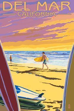 Del Mar, California - Surfers at Sunset by Lantern Press