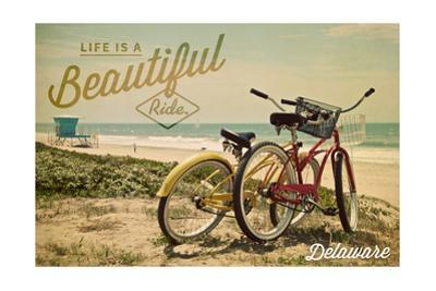 Delaware - Life is a Beautiful Ride - Beach Cruisers by Lantern Press