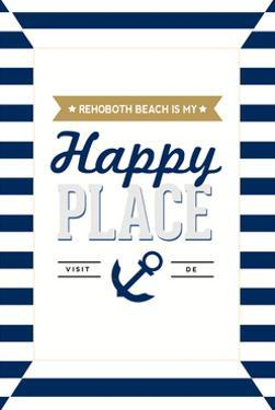 Delaware - Rehoboth Beach is My Happy Place - Stripes by Lantern Press